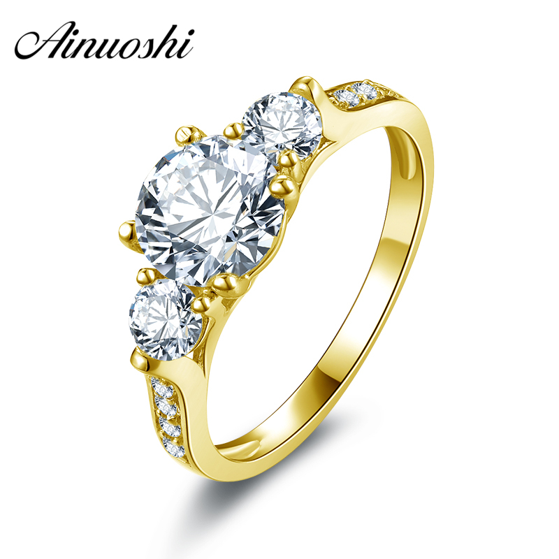 AINUOSHI 10k Solid Yellow Gold Women Ring 1.25 ct Round Cut Brand Engagement Band Jewelry Simulated Diamond Female Wedding Rings ainuoshi 10k solid yellow gold wedding ring 2 ct round cut simulated diamond anel de ouro female wedding rings for women gifts