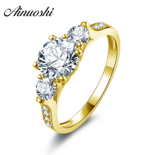 AINUOSHI 10k Solid Yellow Gold Women Ring 1.25 ct Round Cut Brand Engagement Band Jewelry Simulated Diamond Female Wedding Rings