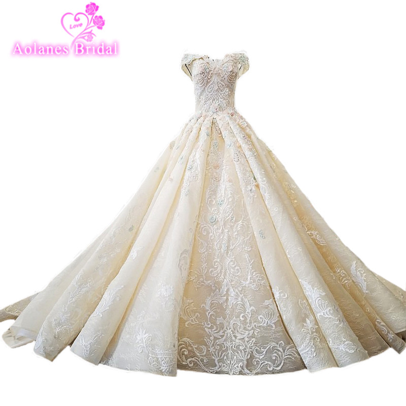 2018 Champagne Natural White Lace Wedding Dresses Sleeveless Long Train Waves Ball Gown Bridal Gowns Trouwjurk Vestido De Noiva