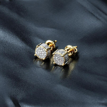 Round Zircon Square Stud Earring For Men & Women Hip Hop Fashion Jewelry  Pave CZ Big Cube Shape Iced Out Bling Earrings