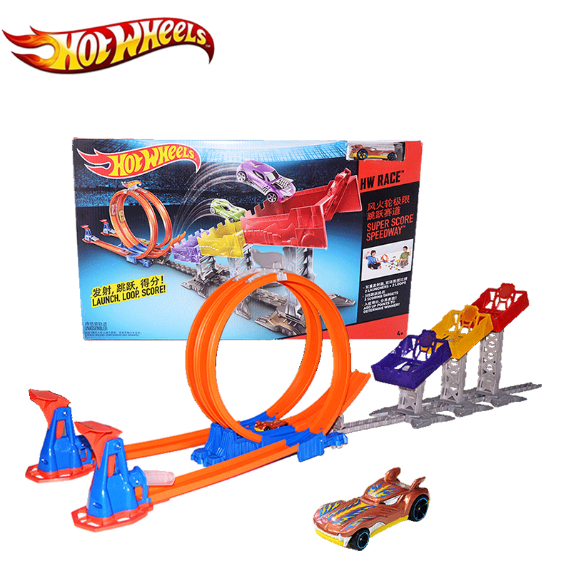 Original Mattel Hot Wheels Car Toy Track Limit Jump Classis Movie Antique Hotwheels Cars Toy Track For Children's Gift DJC05 hot wheels sport car toy plastic track vehicles kid toys hot sale hotwheels cars track x2586 multifunctional classic boy toy car