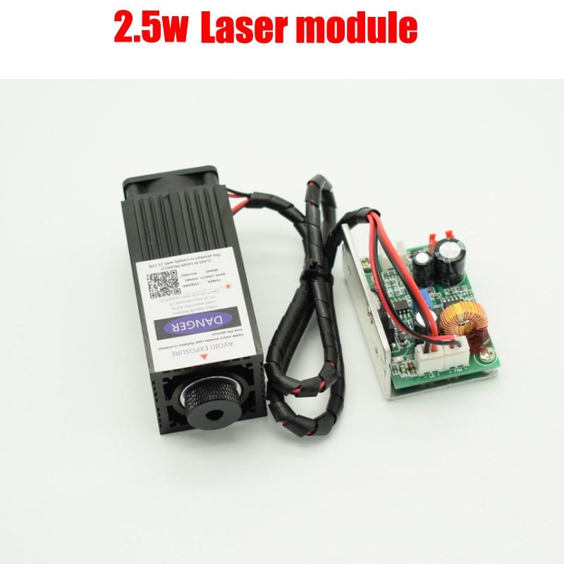 2.5w high power 450NM focusing blue laser module laser engraving and cutting TTL module 2500mw laser tube+googles