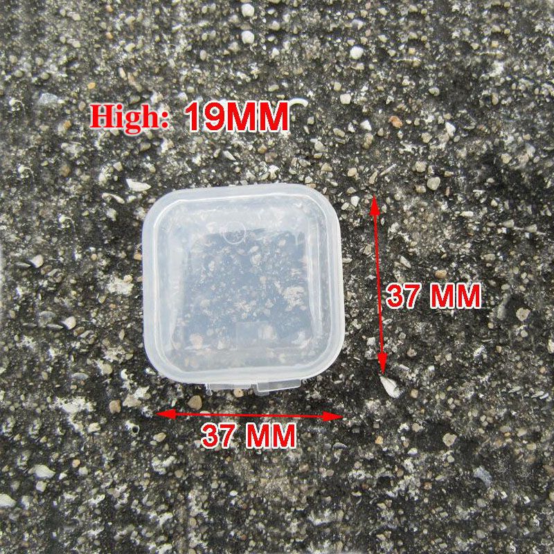 37mm*37mm*19mm Spuare Ear Pads Case Caps Cups Plastic Mini Transparent Carry Storage Box Shockproof AntiDust Earbuds Small Boxes