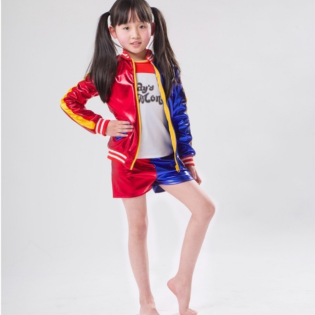 classic joker and harley costume jacket for girls quinn kids suicide squad hair children girl wig  sc 1 st  AliExpress.com & classic joker and harley costume jacket for girls quinn kids suicide ...