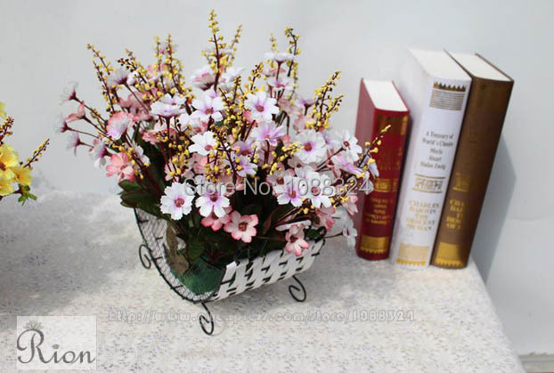 Silk lily of the valley with vase craft fabric real touch for Real plants for home decor