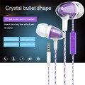 New crystal forma de bala Fones de Ouvido In-line de Controle do Fone de ouvido para Computador MP3 e chamada para a música de Alta definição