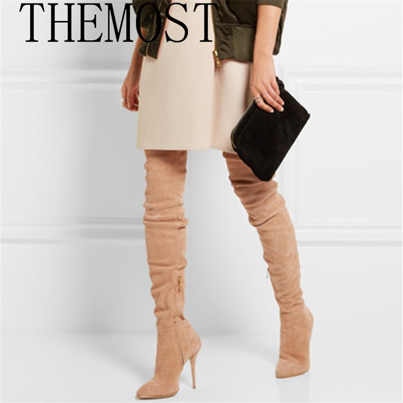 THEMOST 2017 European and American fashion show sexy lady thigh boots suede shoes boots size winter boots 2017 new european and american romantic pop black magazine cool shoes sexy fashion hollow women boots fashion summer boots