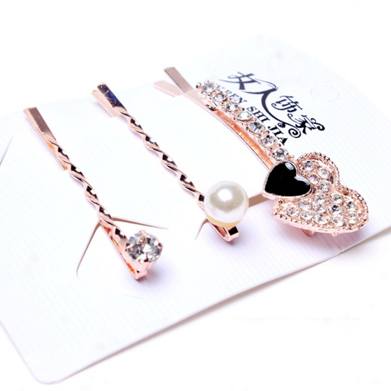 3pcs set Fashion Alloy Women Girls Hair Barrettes High Quanlity Charming Pearl Hair Clips in Styling Accessories from Beauty Health