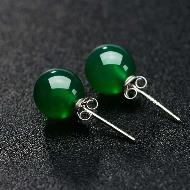 90bd115ee Silver S925 Natural Bizuteria Jade Stud Earring Emerald Green Jasper  Kolczyki Turquoise Stud Earring For Women Jade Brincos Girl