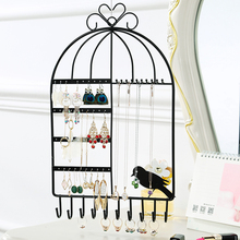 New Arrival Metal Earrings Holder Jewelry Storage Rack Iron Frame Rotatable Earrings Rack Necklace Display Shelf Organizer A230