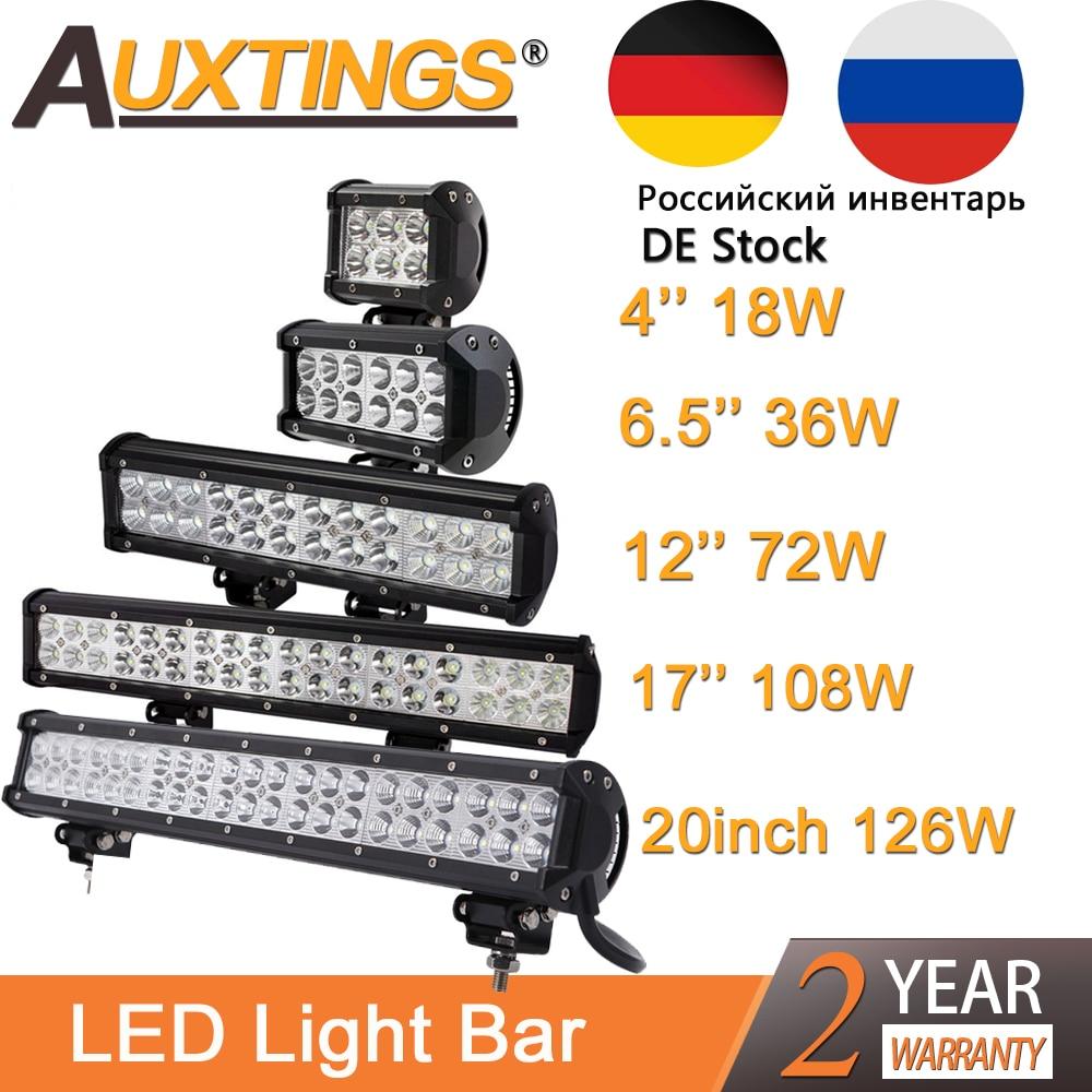 Auxtings 4'' 12'' 15'' 17'' 20'' inch offroad led light bar 12V 24V Spot Flood led Work Light for Jeep Car 4WD Truck 4x4 SUV ATV цены онлайн