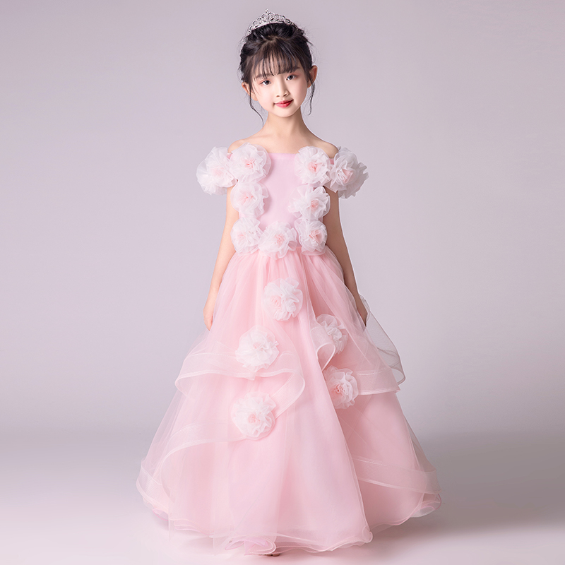 2018 Pink Princess Girl Dress Floral Ball Gown Appliques Flower Girl Dress Off Shoulder Summer Girl Dress Kids Pageant Gown AA27 protective pu leather full body case for samsung galaxy tab pro 8 4 t320 brown black