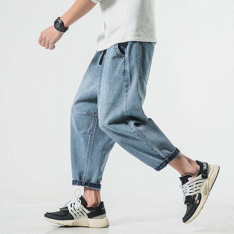2019 Spring and Summer Fashion New Plus Fat Large Size Men's Casual Denim Cropped Pants Wide Pants Loose Mens   Jeans