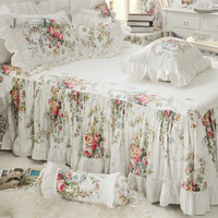 Top Floral print ruffle bedspread Quality 100% satin cotton bed cover bed sheet handmade coverlet bed skirt home bedclothes sale