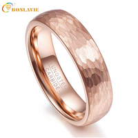 6mm Width Men Rings Rose Gold Geometric Figure Tungsten Carbide Anillos para hombres Male Fashion Jewelry