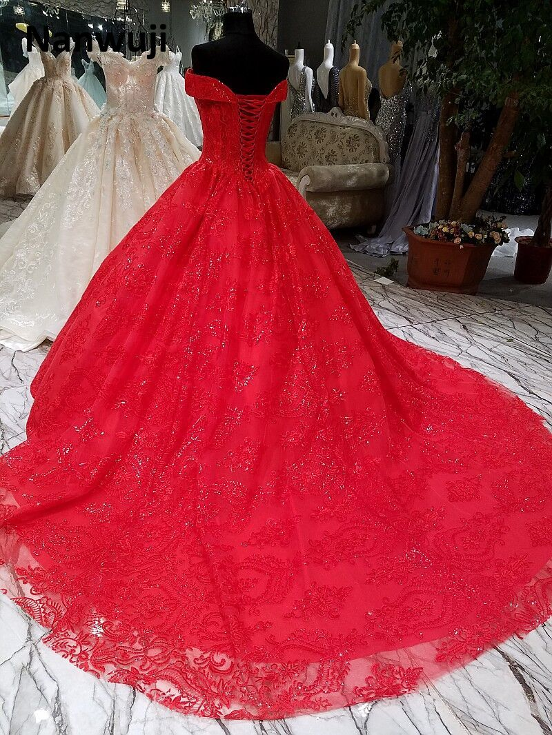 Real Photo Cap Æske Beaded Ball Gown Aftenkjole Luksus Cap Æske Red - Særlige occasion kjoler - Foto 4