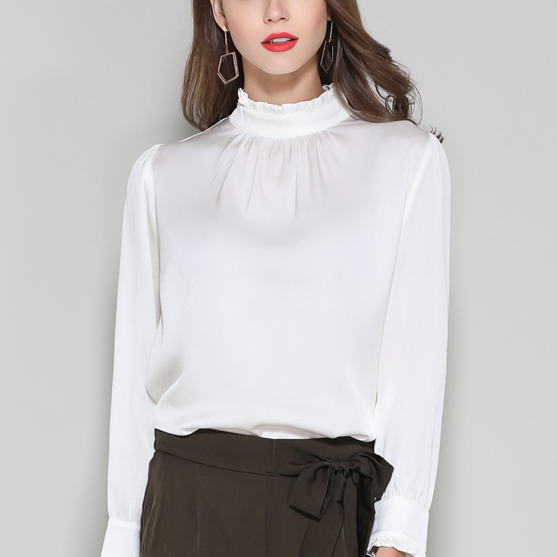Silk Stain full sleeve Blouses shirts elegant white office lady work fashion solid silk shirts blouse tops summer Woman 2019