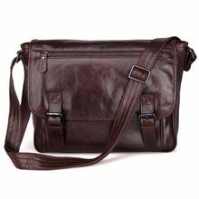 Genuine Leather Briefcase Vintage Cross Body Purse Men'S Messenger Bag 7022Q