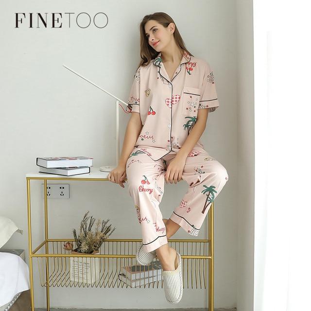FINETOO נשים פיג מה סטי קיץ קצר בגדי הלבשת יפה הדפסת פיג מה כותנה ארוך מכנסיים נקבה הלבשת גברת בית ללבוש
