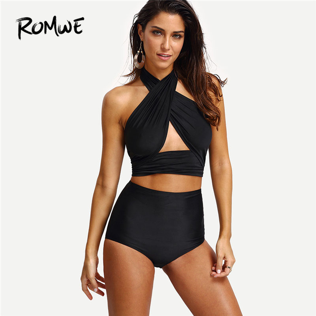 Romwe Sport Cross Wrap Halter Sexy Swimwear Women Black High Waist Bathing  Suit 2018 New Girls Sleeveless Summer Beach Swimsuit bee9997e34fc