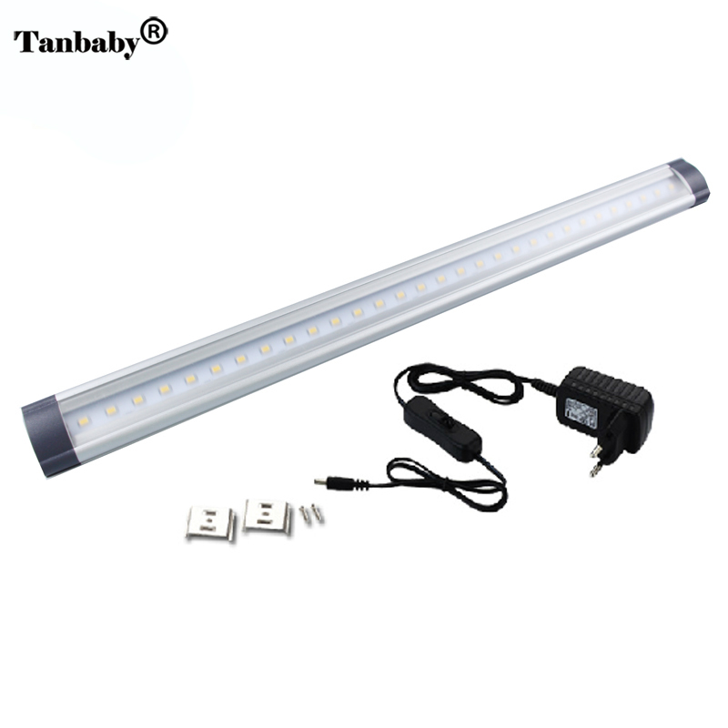 Tanbaby led cabinet light with power adapter 3W warm white SMD led tube DC12V linear cabinet strip lights for kitchen/cabinet tanbaby 5pcs 5 5mm x 2 1mm 12v dc power male