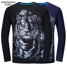 SWENEARO 3D T-shirt S-6XL Mens Long Sleeve 2017 Animal Orang Tiger Wolf Lion Hawk Horse Print T-shirts Men Casual Brand T shirt