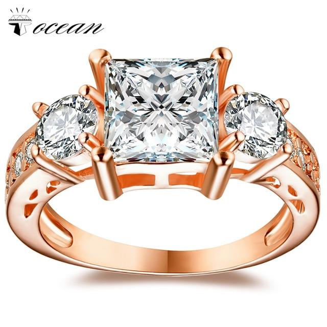 Tocean Rose Gold Color Romantic Fashion Wedding Rings for Women Square Cute AAA Zircon Engagement Bijoux Bague Size 5-12 W045