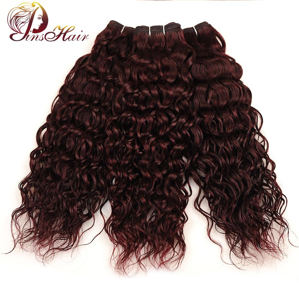 Pinshair Red Burgundy Brazilian Hair Water Wave 100% Human Hair Bundles 3 Pcs Wet Wavy Brazilian Weave Hair Extensions Non Remy