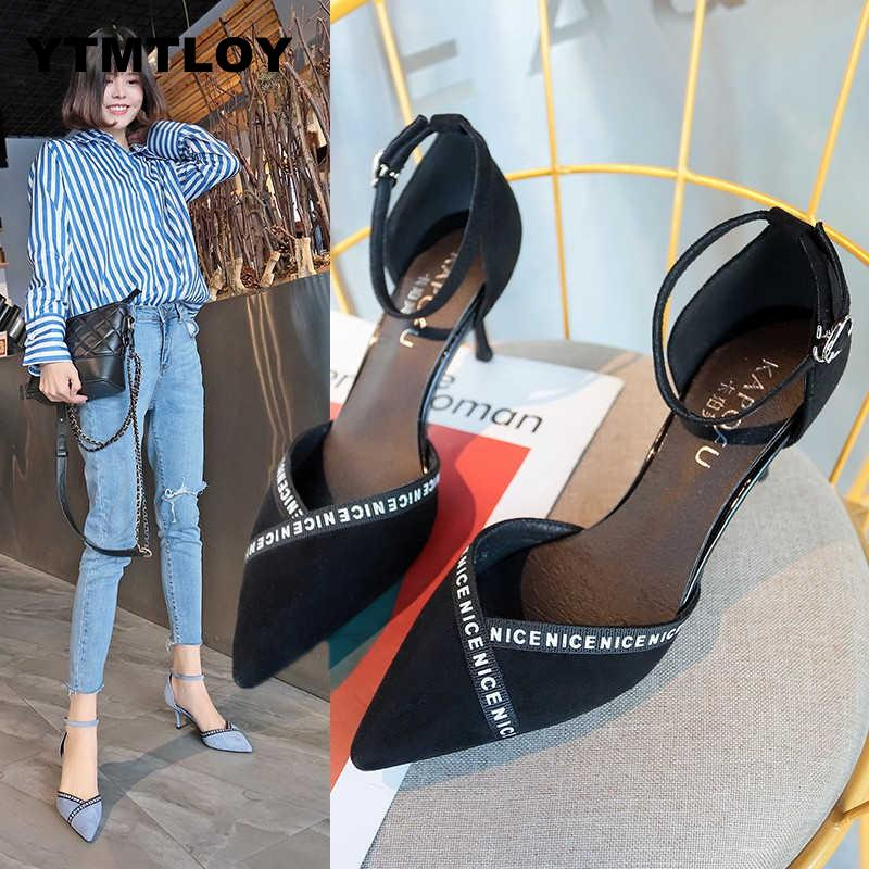 New Hot Korean Fashion Sexy Comfortable High Heels Pointed Sexy Wild Sequins High Heels Pointed Toe 2019
