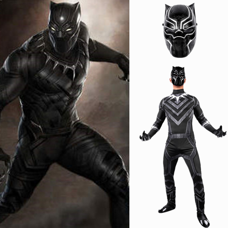 2018 Superhero Black Panther Male Costume 3D adult men cosplay Captain America Civil War Halloween Party Costumes Set