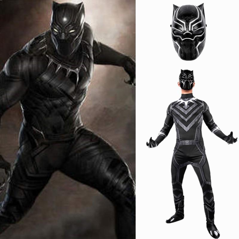 2018 Superhero Black Panther Male Costume 3D adult men cosplay Captain America Civil War Halloween Party Costumes Set