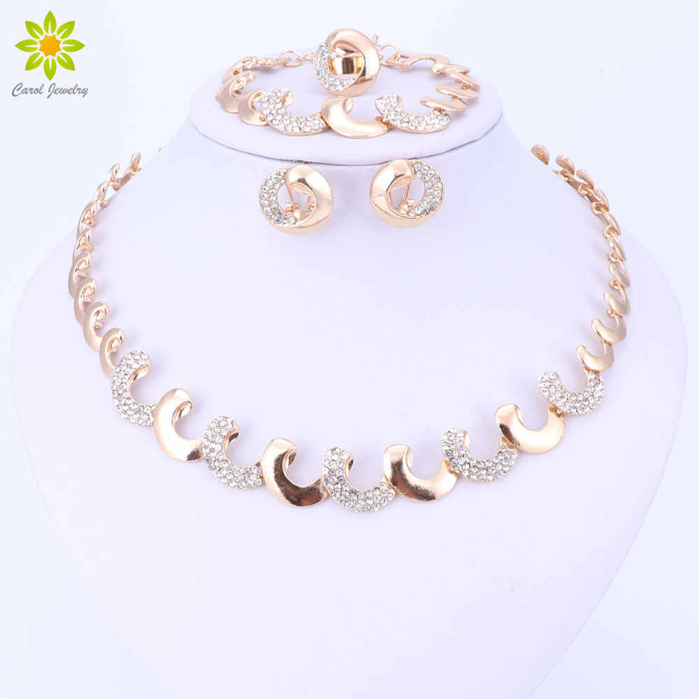 Gold Color African Beads Jewelry Sets For Women Party Nigerian Bridal Crystal Classic Necklace Accessories