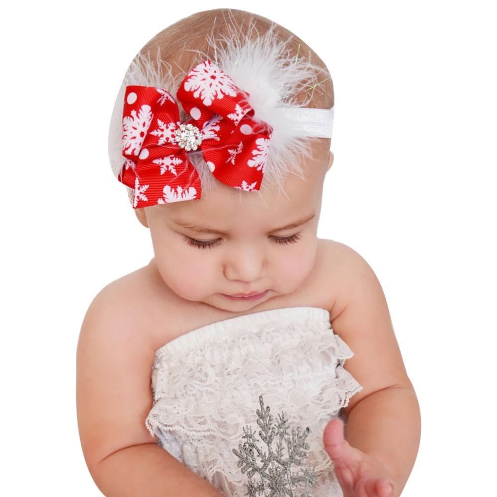 Christmas Baby Girls Toddler Bow Feather Headband Snow Flower Girl Hair Headwear диван диван ру вашингтон rubin