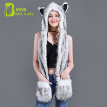 2018 White Fox Winter Hoods Animal Cute Faux Cosplay Fur Cap Hat Faux Fur Cute Cartoon Caps Muffler Hat With Scarves faux fur decorated pu sneakers with cute ears