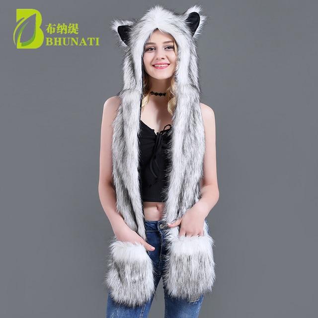 abfb620c944 2018 white fox winter hoods animal cute faux cosplay fur cap hat Faux Fur  Cute Cartoon