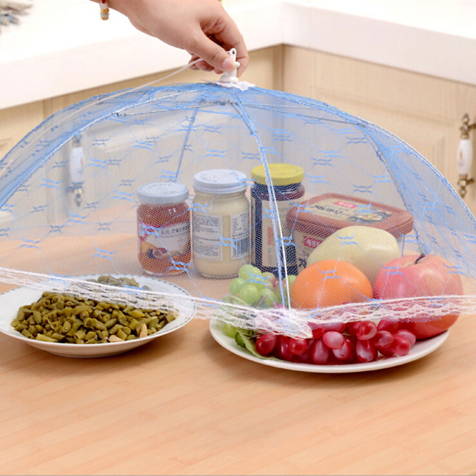 Hot Sale Food Covers Umbrella Style Anti Fly Mosquito Kitchen Cooking Tools Table Meal Cover Hexagon Gauze