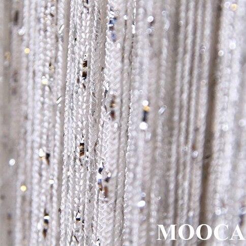 blanc avec argent m tallique fil rideau rideau en corde 2 taille dans rideaux de maison jardin. Black Bedroom Furniture Sets. Home Design Ideas