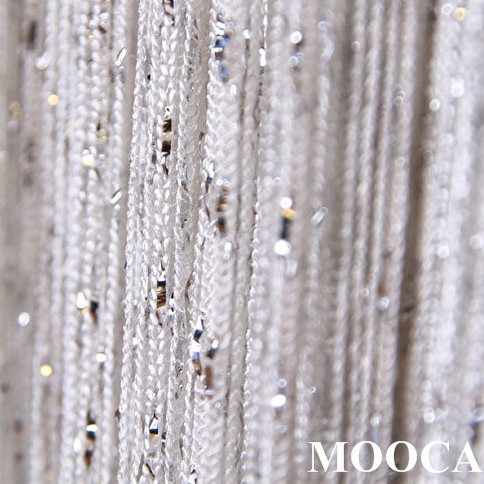 Blanc avec argent métallique fil rideau rideau en corde 2 taille ...