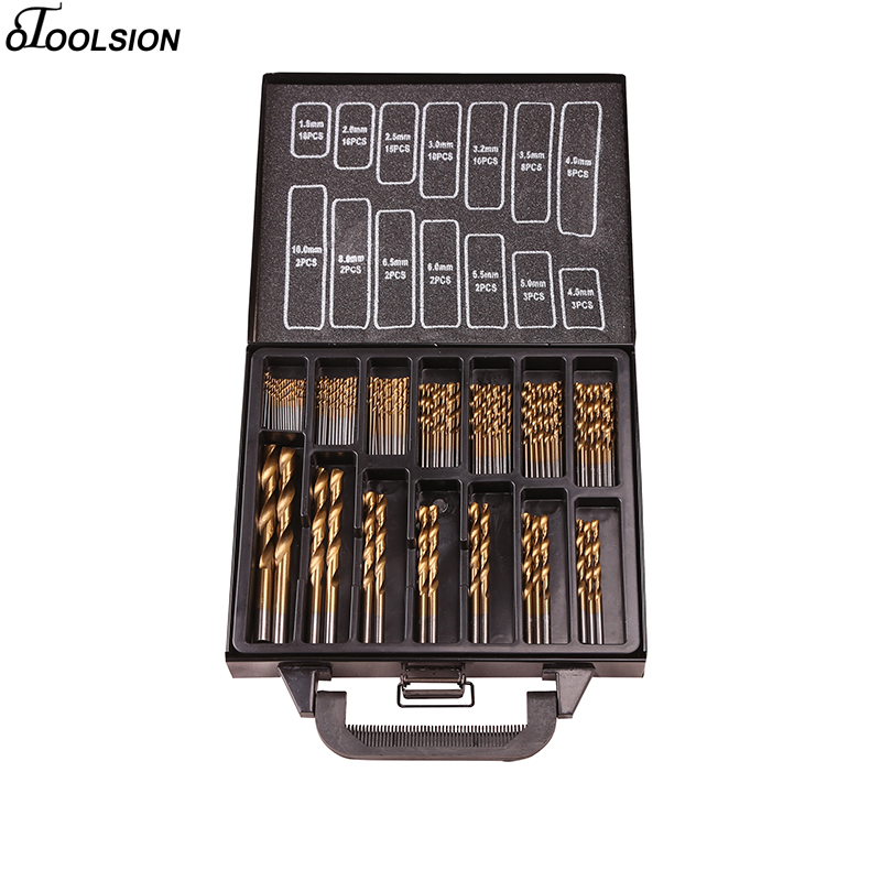 99 Pcs Power Tool Accessories Twist Drill Bit Set 1.5-10mm Titanium Coated Surface Power Tool Spares For Drilling Metal Diy Home