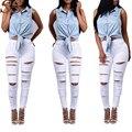 Nueva Llegada de Las Mujeres Jeans Agujeros Rotos Lápiz Mediados de Cintura de Color Sólido Pantalones de Moda 2017