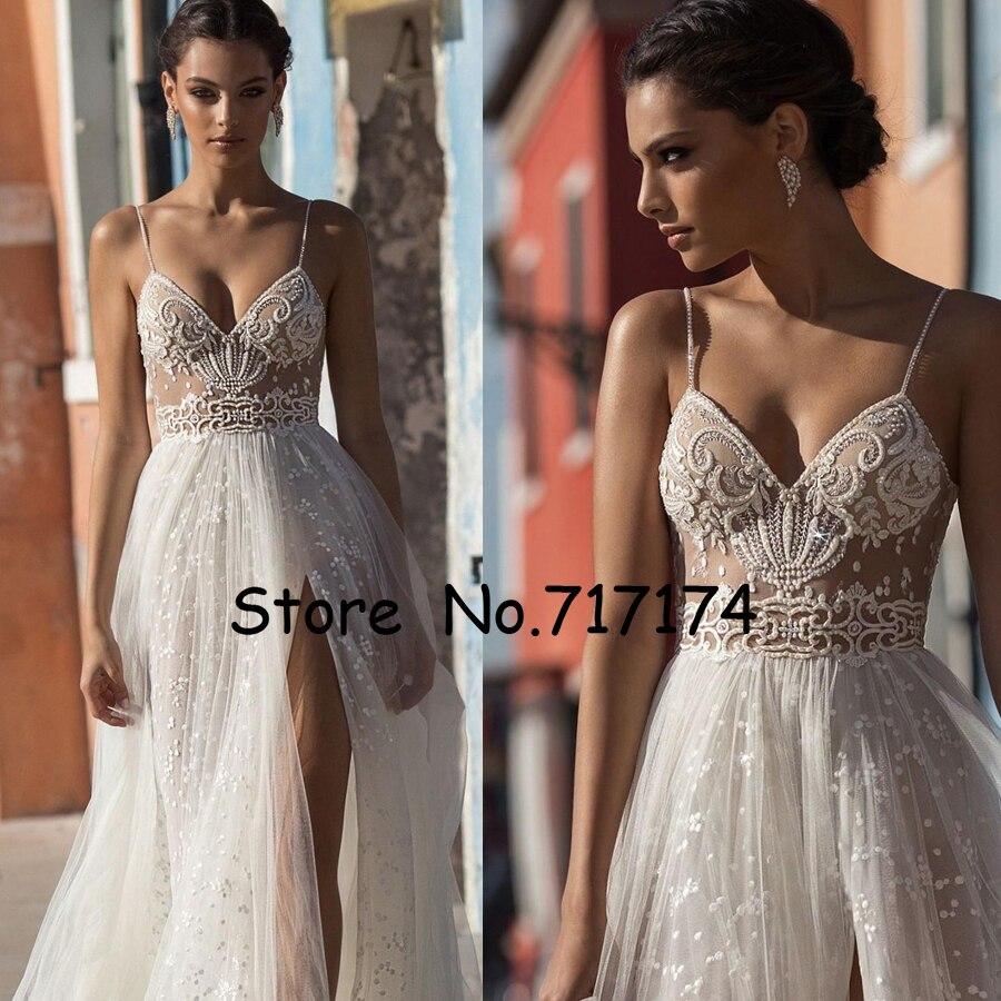 Robes de mariée d'été côté fente Spaghetti Illusion Sexy Boho robes de mariée balayage Train perles dos nu bohème mariée