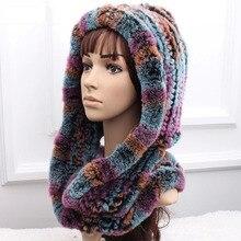 Free Shipping Thickening Women's Winter Rex Rabbit Fur Hat Scarf Genuine Fur Muffler Scarf Ear Warm Hat