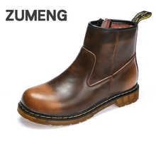 ZUMENG Ankle Boots Male Shoes Hard-wearing Rubber Soles High Mens Winter Shoes felt boots men Genuine Leather Couples Boot