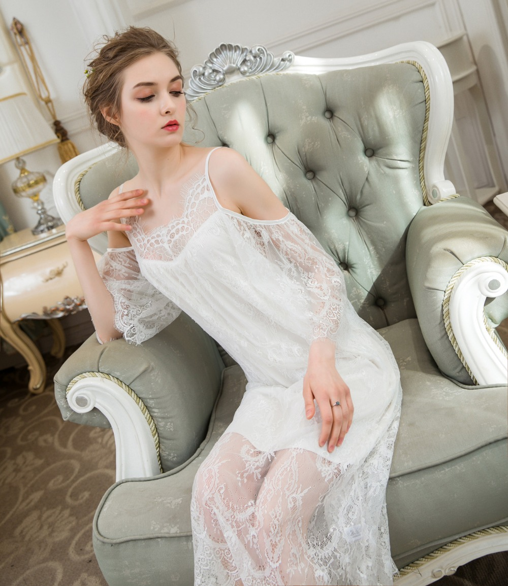 Arab Oman Women Off Shoulder   Nightgown   Lace   Sleepshirts   Nightdress Sleepwear Slip Dress Summer Spring Palace Princess Dress