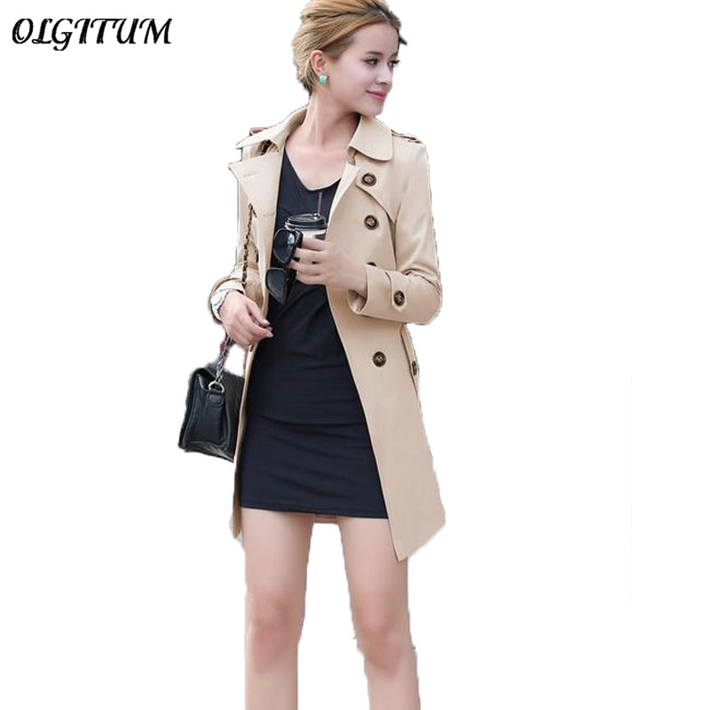 2019 Spring Autumn New Female Double Breasted Coat Long Section Slim Thin Women Trench Coat Loose Casual Windproof with belt