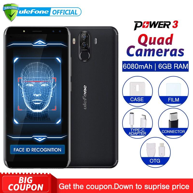 "Ulefone Power 3 Android 7.1 Mobiele Telefoon 6.0 ""18:9 FHD + MT6763 Octa Core 6 GB + 64 GB 21MP Quad Camera 6080 mAh Gezicht ID 4G Smartphone-in Mobiele Telefoons van Mobiele telefoons & telecommunicatie op AliExpress - 11.11_Dubbel 11Vrijgezellendag 1"