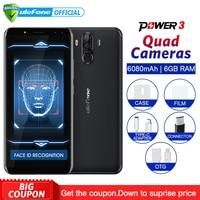 Ulefone Power 3 Android 7.1 Mobile Phone 6.0 18:9 FHD+ MT6763 Octa Core 6GB+64GB 21MP Quad Camera 6080mAh Face ID 4G Smartphone