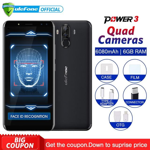 """Ulefone di Alimentazione 3 Android 7.1 Del Telefono Mobile 6.0 """"18:9 FHD + MT6763 Octa Core 6 GB + 64 GB 21MP Quad Camera 6080 mAh Viso ID 4G Smartphone"""