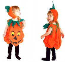 Halloween Pumpkin Costume Body Suit+hat Children Stage Performance Costume Boy/girl Party Clothing 16
