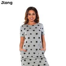 Print Star summer women dresses women clothing Short Sleeve Knee-Length dress casual o-neck loose dress nz17
